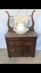 Vintage Pink Marble Dry Sink With Pitcher And Basin