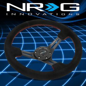 Nrg Performance 350mm 3 Deep Dish Spokes Red Stitch Suede Grip Steering Wheel