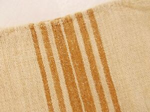 Matching Set Lot Of 3 Vtg Antique Gold Stripe Hemp Linen Feed Sack Grain Bags