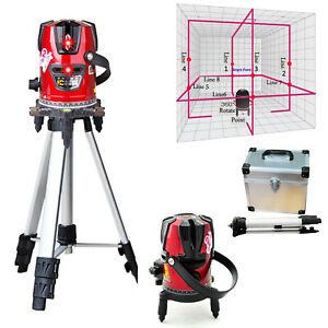 2019 Rotary Laser Beam Self Leveling 8 Line 1 Point Laser Level Kit tripod Ce