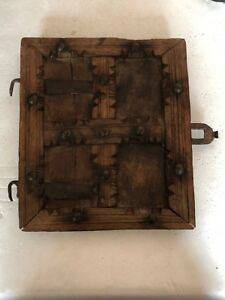 Old Antique Hand Carved Unique Wooden Small Door With Brass Nails From Fort