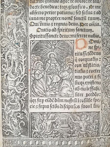 Book Of Hours Leaf Vostre Horae Woodcut Border Spiritus Paris 1501