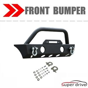 Black Textured Front Bumper Fits 2007 2018 Jeep Wrangler Jk W Led Lights Tabs