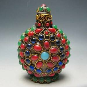 Delicate Chinese Turquoise Coral Beads Handmade Snuff Bottle Rare