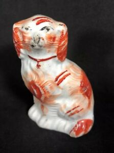 3 3 4 Staffordshire Dog Figurine Red Hand Painted As Is Spaniel 19a
