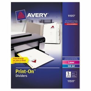 Avery Customizable Print on Dividers 5 tab Letter 5 Sets Ave11517