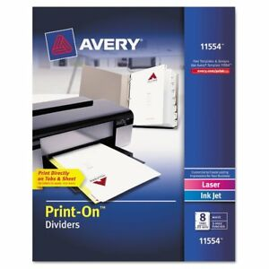 Avery Customizable Print on Dividers 8 tab Letter 25 Sets Ave11554