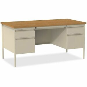 Lorell Double Pedestal Desk 60 x30 x29 1 2 Putty Oak Llr60926