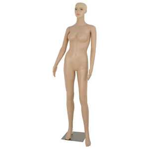 Female Mannequin Plastic Realistic Display Clothes Head Turns Dress Form W Base