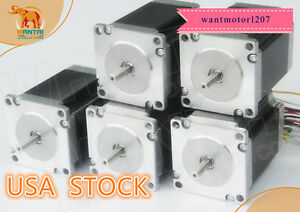 Ship From Us Wantai 5pcs Nema23 Stepper Motor Dual Shaft 425oz 3a 115mm 1 8