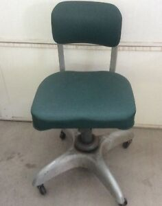 Mid Century Industrial Goodform Propeller Desk Office Chair Green Swivel