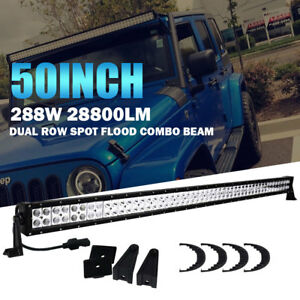 50 Inch 288w Straight Led Light Bar Work Offroad Truck Boat Suv Car Ford Jeep