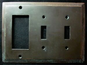 Vintage 3 Gang Combo Switch Outlet Wall Cover Plate Dark Bronze Stair Stepped