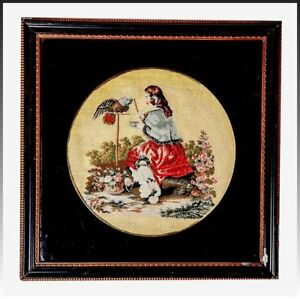 Antique English Victorian Needlepoint Queen Victoria Pets Petitpoint Framed