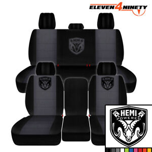 2011 2018 Dodge Ram 1500 Car Seat Covers Black Charcoal With New Hemi Design