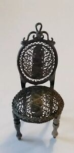 Antique Sterling Filigree Miniature Dollhouse Chair