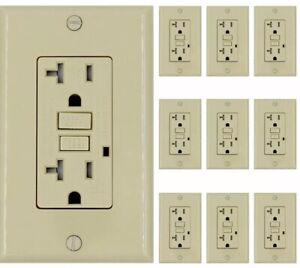 20 Amp Gfci gfi Receptacle Outlet tamper Resistant White New Gfci 10pack