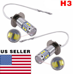 2 Pcs H3 Fog Driving Lights Cree Led Light Bulbs 6000k Bright White 50w 6000lm