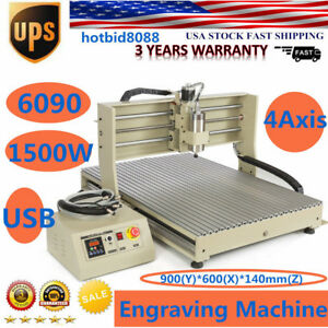 4 Axis 6090 Usb 1500w Cnc Router Engraver Engraving Cutting Machine Ups Ship