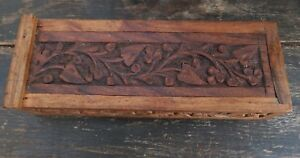 Antique Indian Carved Spice Box Handmade Mahoganey Rosewood