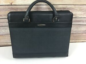 Day Runner Berlin Refillable Planner Briefcase Attache Leather Handles Black