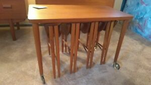 Early 1950s Danish Mid Century Modern Teak Stacking Tables Stools