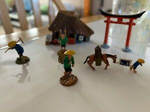 Vtg Antique Japan Metal Miniatures Lot Farmers Nomads House Gatherers