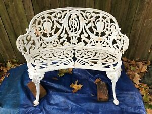 Antique Victorian Cast Iron French Regency Neoclassical Outdoor Garden Bench