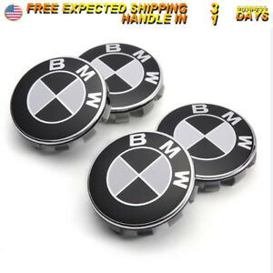4pcs Black White Wheel Cover Badge Hub Center Cap 68mm For Universal Bmw