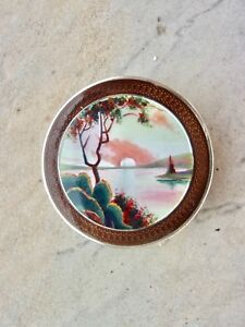 Vintage Enamel Sea Landscape Guilloche French Marks Silver Compact Trinket Box