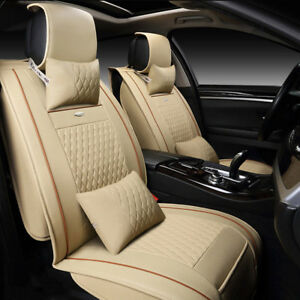 Us 11x Beige Pu Leather Seat Covers For Lexus Rx350 Is250 300c Front rear pillow