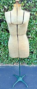 Antique Vintage Primitive Cardboard Mannequin Dress Form Cast Iron Adjustable