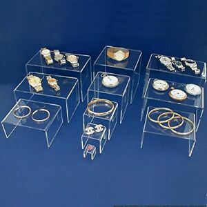 Jewelry Display Stand Clear Acrylic Riser Set Showcase Display Stand