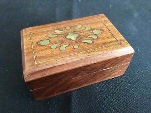 Antique Vintage Wooden Snuff Box With Brass Inlay