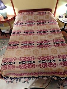 1840 Antique Woven Wool Coverlet Birds And Roses Made In Berlin Ohio