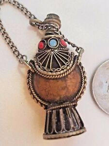Made With Antique Coins Super Rare Perfume Bottle Coral Turquoises Must See