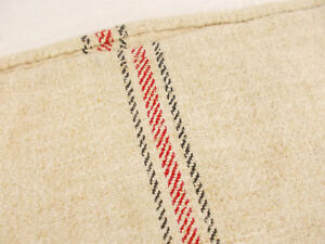 Vtg Antique Black Red Stripe French Hemp Linen Flour Feed Sack Grain Bag 20x55