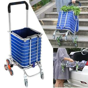 Folding Shopping Cart Heavy Duty Rolling Grocery Carts Utility Transit Stair Cl