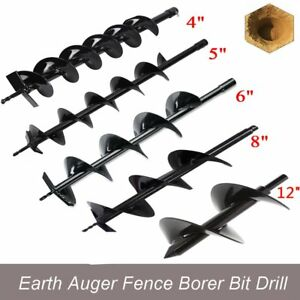 4 5 6 8 12 Bits Drill For Earth Auger Post Hole Digger Fence Soil Drill Ek