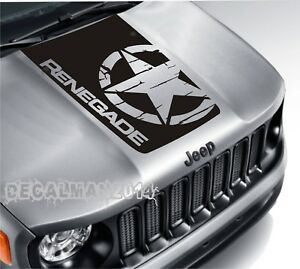 Blackout Distressed Star Vinyl Hood Decal Jeep Renegade Military Army Graphic