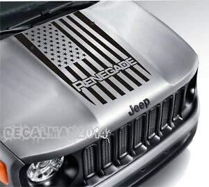 Usa American Flag Blackout Vinyl Hood Decal Jeep Renegade 2015 2016 2017 2018