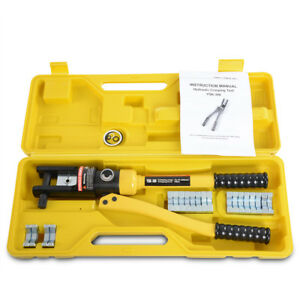 16 Ton Hydraulic Wire Terminal Crimper Cable Lug Crimping Battery Tool 11 Dies