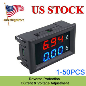 Usa Voltage Meter Tester Gauge Dc 100v 10a Led Digital Panel Voltmeter Ammeter