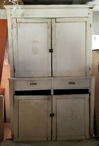 Large Antique Step Back Cupboard Oak Cabinet 7 8 Tall