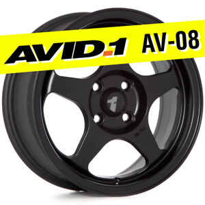 Avid 1 Av 08 15x6 5 Flat Black 4x100 35 Wheels Set Of 4 Spoon Style Jdm Rims