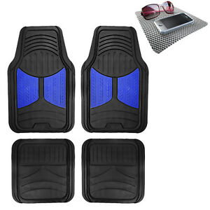 Universal Fitment Floor Mats For Auto Car Suv Van Rubber Blue Black W Dash Mat