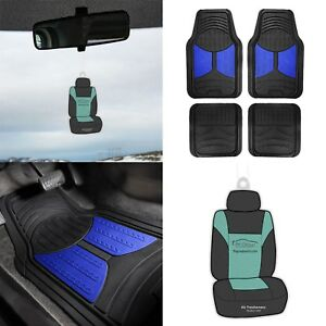 Universal Fitment Floor Mats For Auto Car Suv Van Rubber Blue Black W Free Gift