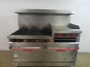 Vulcan Snorkel 260lc 560 6 Burner Flat Grill 2 Ovens Broiler Natural Gas Tested