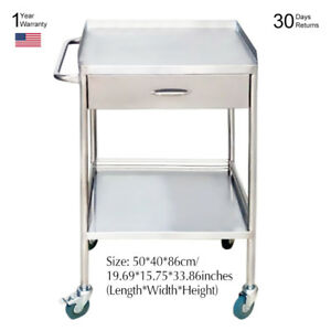Hospital clinic Medical Stainless Steel Dental Cart One Drawer With 2 Layers Sfw