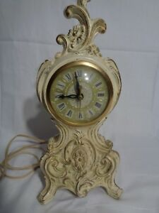 Antique Electric Working Clock Very Victorian Baroque French Or Shabby Chic